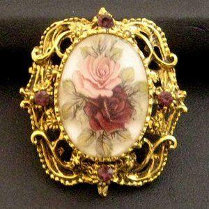 Vintage Rose Cameo Pin purple rhinestone accent